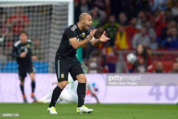 Javier Mascherano of Argentina reacts during the International Friendly match between Spain and Argentina at Wanda Metropolitano Stadium on March 27...