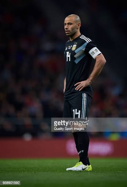 Javier Mascherano of Argentina reacts during the International friendly match between Spain and Argentina at Metropolitano Stadium on March 27 2018...