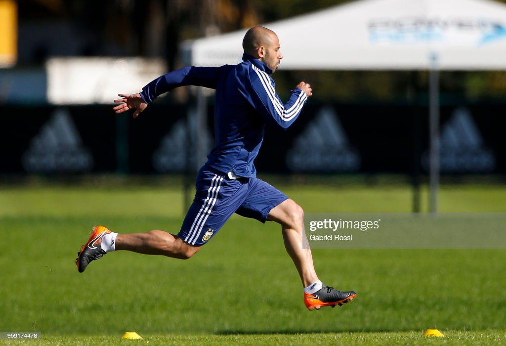 Javier Mascherano of Argentina runs during a traning session as part of the preparation for the FIFA World Cup Russia at Julio Humberto Grondona Training Camp on May 16, 2018 in Ezeiza, Buenos Aires, Argentina.