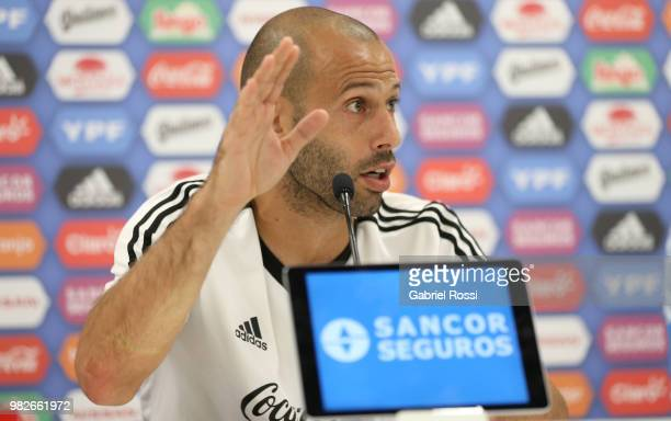 Javier Mascherano of Argentina speaks during a press conference at Stadium of Syroyezhkin sports school on June 24 2018 in Bronnitsy Russia