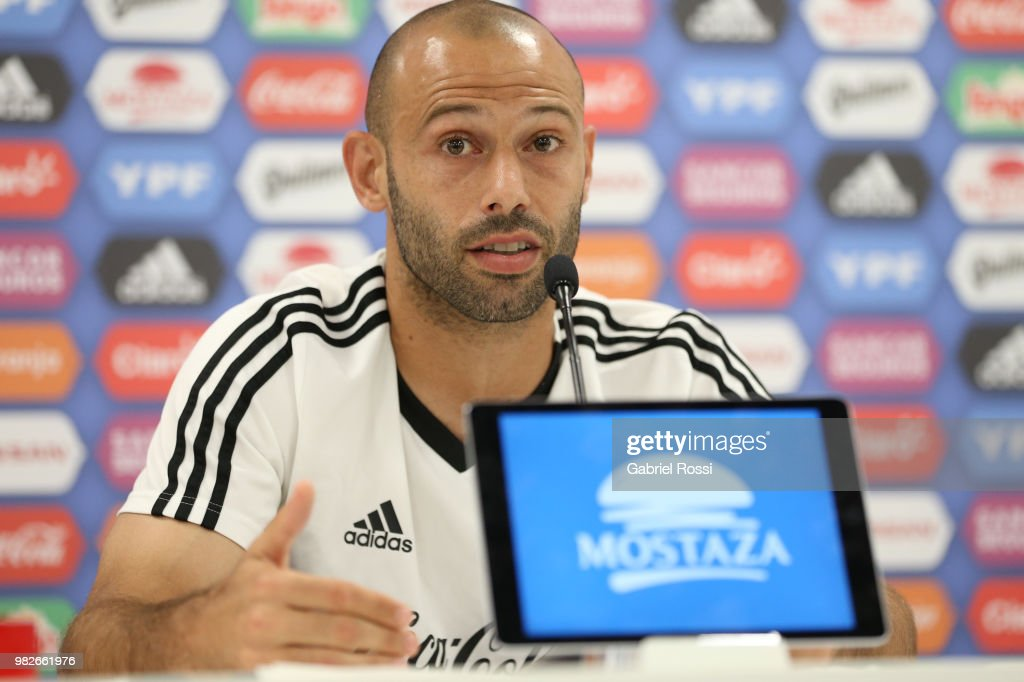 Javier Mascherano of Argentina speaks during a press conference at Stadium of Syroyezhkin sports school on June 24, 2018 in Bronnitsy, Russia.