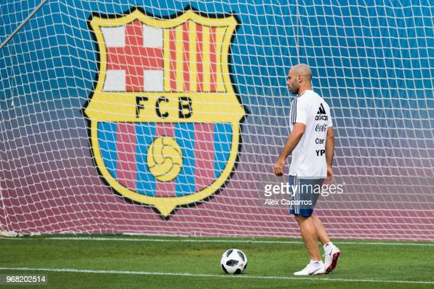 Javier Mascherano of Argentina takes part in a training session as part of the team preparation for FIFA World Cup Russia 2018 at FC Barcelona 'Joan...