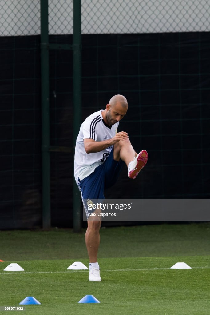 Javier Mascherano of Argentina takes part in a training session as part of the team preparation for FIFA World Cup Russia 2018 at FC Barcelona 'Joan Gamper' sports centre on June 7, 2018 in Barcelona, Spain.