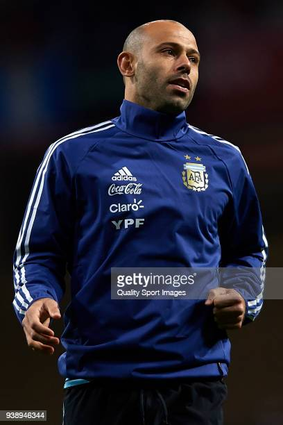 Javier Mascherano of Argentina warms up prior to the International Friendly match between Spain and Argentina at Wanda Metropolitano Stadium on March...