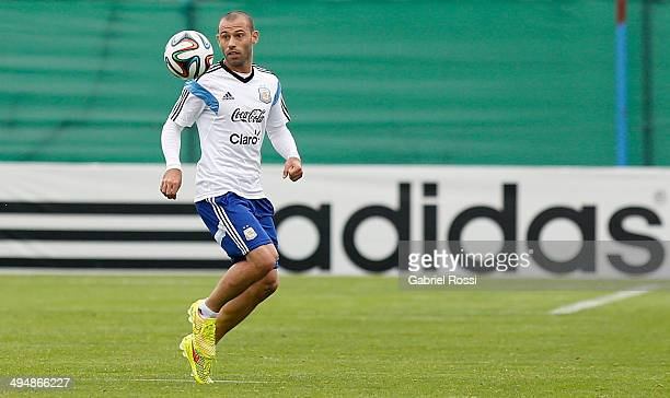 Javier Mascherano of Argentina watches the ball during an Argentina training session at Ezeiza Training Camp on May 31 2014 in Ezeiza Argentina