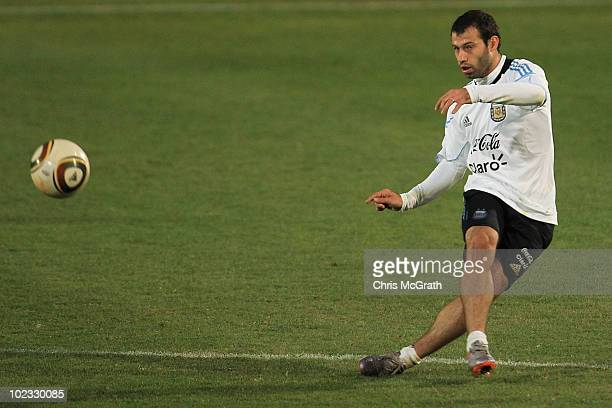 Javier Mascherano of Argentina's national football team kicks the ball during a team training session on June 23, 2010 in Pretoria, South Africa.