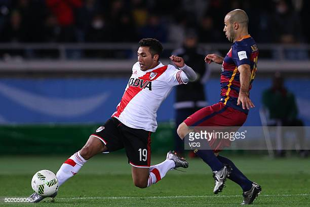 Javier Mascherano of Barcelona and Tabare Viudez of River Plate compete for the ball during the FIFA Club World Cup Final Match between FC Barcelona...
