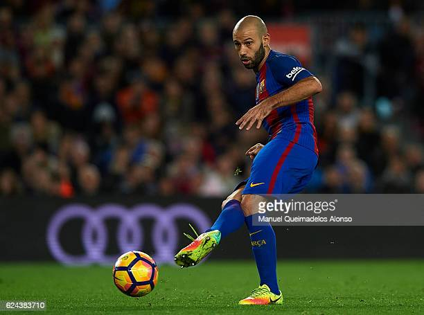 Javier Mascherano of Barcelona in action during the La Liga match between FC Barcelona and Malaga CF at Camp Nou stadium on November 19 2016 in...