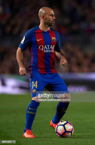 Javier Mascherano of Barcelona in action during the La Liga match between FC Barcelona and Valencia CF at Camp Nou Stadium on March 19 2017 in...