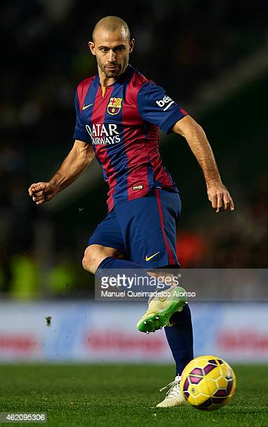 Javier Mascherano of Barcelona in action during the La Liga match between Elche FC and FC Barcelona at Estadio Manuel Martinez Valero on January 24...