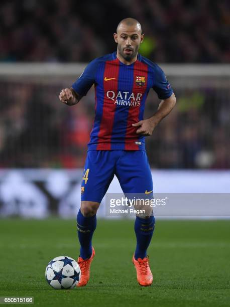 Javier Mascherano of Barcelona in action during the UEFA Champions League Round of 16 second leg match between FC Barcelona and Paris Saint-Germain...