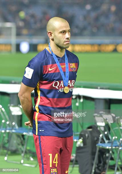 Javier Mascherano of Barcelona looks on during the FIFA Club World Cup final match between River Plate and FC Barcelona at International Stadium...