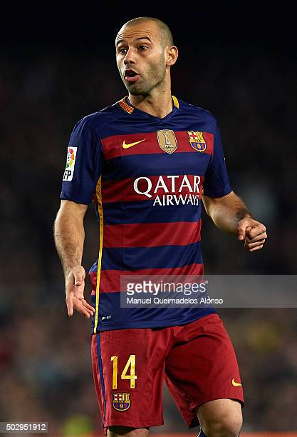 Javier Mascherano of Barcelona reacts during the La Liga match between FC Barcelona and Real Betis Balompie at Camp Nou on December 30 2015 in...