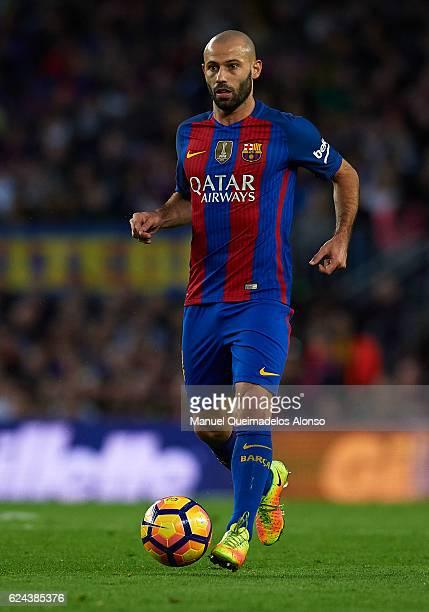 Javier Mascherano of Barcelona runs with the ball during the La Liga match between FC Barcelona and Malaga CF at Camp Nou stadium on November 19 2016...