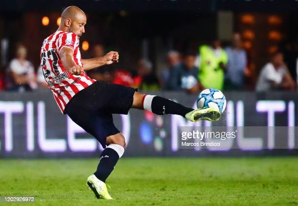Javier Mascherano of Estudiantes kicks the ball during a match between Estudiantes and River Plate as part of Superliga 2019/20 at Estadio Jorge Luis...