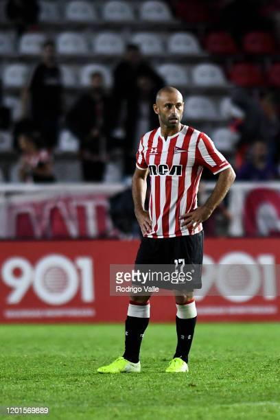Javier Mascherano of Estudiantes reacts after losing a match between Estudiantes and Defensa y Justicia as part of Superliga 2019/20 at Jorge Luis...