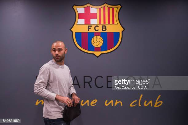 Javier Mascherano of FC Barcelona arrives at his dressing room ahead of the UEFA Champions League Round of 16 second leg match between FC Barcelona...