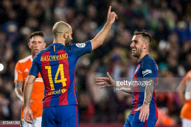 Javier Mascherano of FC Barcelona celebrating his goal with Paco Alcacer during the Spanish championship Liga football match between FC Barcelona vs...