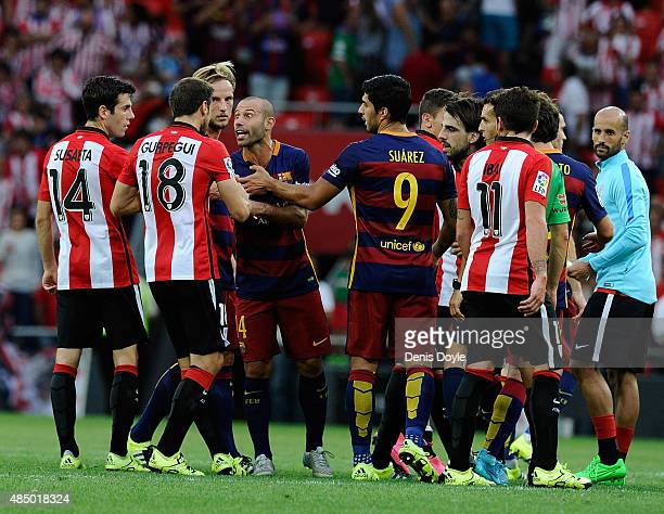 Javier Mascherano of FC Barcelona has a word with Carlos Gurpegi of Athletic Club at the end of the La Liga match between Athletic Club and FC...