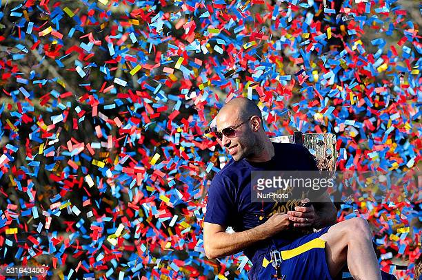 Javier Mascherano of FCBarcelona during the FCBarcelona Spanish League victory parade March 15 2016 in Barcelona Spain