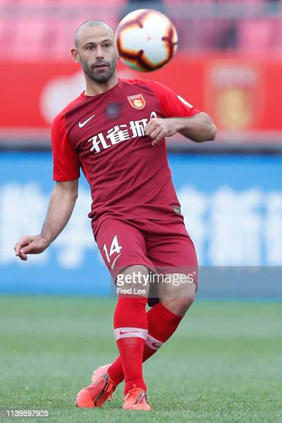 Javier Mascherano of Hebei China Fortune in action during 2019 China Super League between Hebei China Fortune and Beijing Renhe at Langfang Sports...