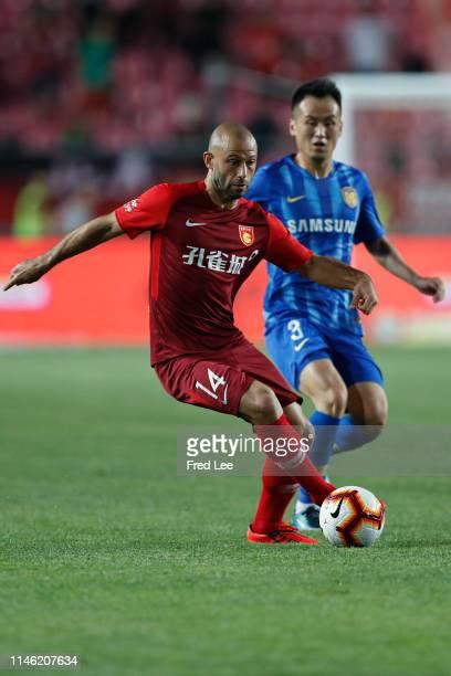 Javier Mascherano of Hebei China Fortune in action during 2019 China Super League between Hebei China Fortune and Jiangsu Suningi at Langfang Sports...