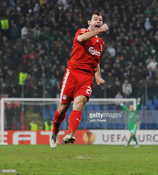 Javier Mascherano of Liverpool celebrates after scoring a goal during the UEFA Europa League knock-out round, second leg match between FC Unirea...