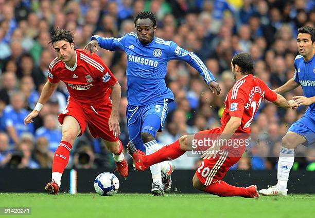 Javier Mascherano of Liverpool competes with Michael Essien of Chelsea during the Barclays Premier League match between Chelsea and Liverpool at...