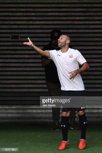 Javier Mascherano reacts during his presentation as new player of Estudiantes de La Plata at Jorge Luis Hirschi Stadium on December 7 2019 in La...