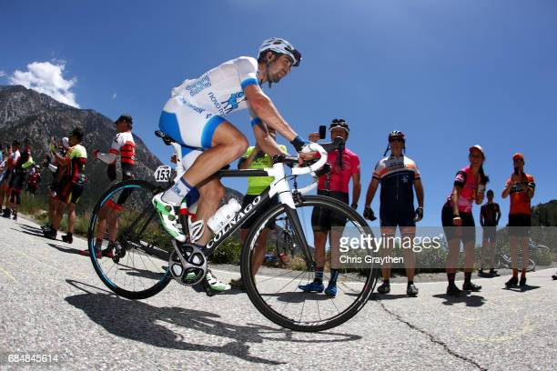 Javier Megias Leal of Spain riding for Team Novo Nordisk rides up Glendora Ridge Road summit during stage five of the AMGEN Tour of California from...