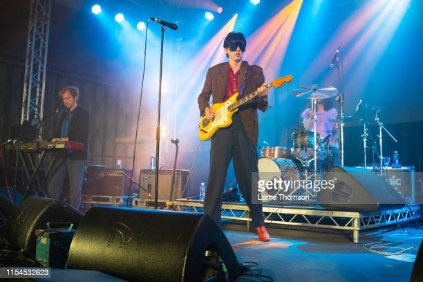 Javier Morales and Bradford Cox of Deerhunter perform onstage during Field Day Festival 2019 at Meridian Water on June 07 2019 in London England