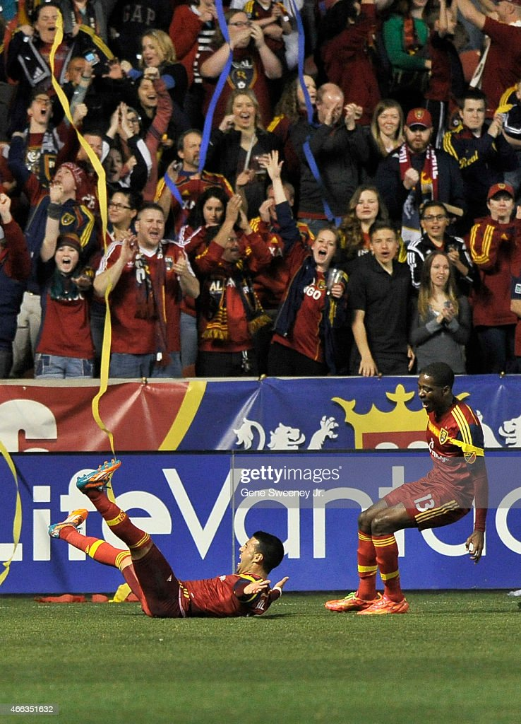 Javier Morales #11 and Olmes Garcia #13 of Real Salt Lake celebrate their first half goal against the Philadelphia Union at Rio Tinto Stadium on March 14, 2015 in Sandy, Utah.