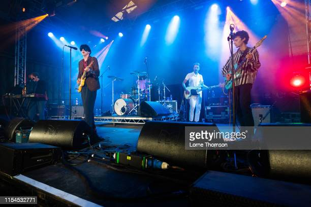Javier Morales Bradford Cox Josh McKay and Lockett Pundt of Deerhunter perform onstage during Field Day Festival 2019 at Meridian Water on June 07...
