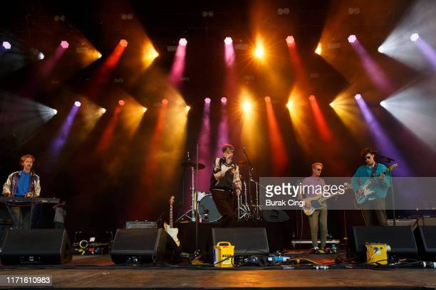 Javier Morales Bradford Cox Josh McKay and Lockett Pundt of Deerhunter perform on stage during End Of The Road Festival 2019 at Larmer Tree Gardens...