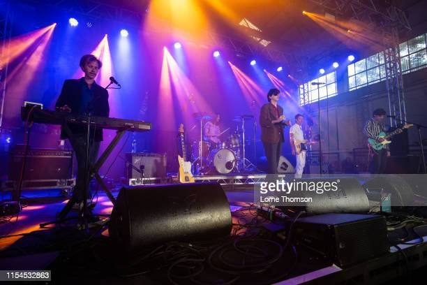 Javier Morales Moses Archuleta Bradford Cox Josh McKay and Lockett Pundt of Deerhunter perform onstage during Field Day Festival 2019 at Meridian...