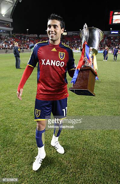 Javier Morales of Real Salt Lake holds the Rocky Mountain Cup after the game win against the Colorado Rapids at Rio Tinto Stadium on October 24 2009...