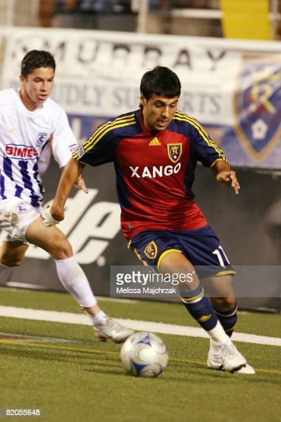 Javier Morales of Real Salt Lake kicks the ball against Deportivo Saprissa at Rice Eccles Stadium on July 23 2008 in Salt Lake City Utah