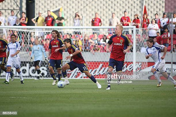 Javier Morales of Real Salt Lake kicks the ball against the Kansas City Wizards on May 16 2009 at Rio Tinto Stadium in Sandy Utah