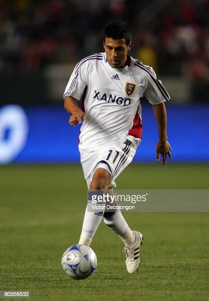 Javier Morales of Real Salt Lake moves ball on the attack against CD Chivas USA in the first half during their MLS game at the Home Depot Center on...