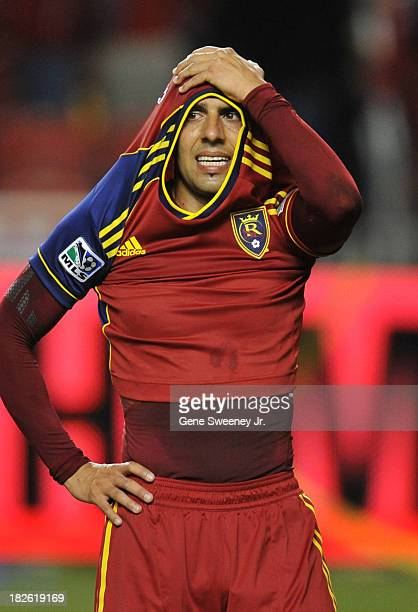 Javier Morales of Real Salt Lake reacts to their 10 loss against DC United at Rio Tinto Stadium October 1 2013 in Sandy Utah