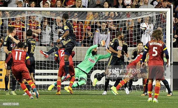 Javier Morales of Real Salt Lake scores on a free kick in the first half against the Philadelphia Union at Rio Tinto Stadium on March 14 2015 in...