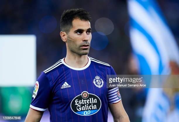 Javier Moyano of Real Valladolid CF looks on prior to the start the La Liga match between Real Sociedad and Real Valladolid CF at Estadio Anoeta on...
