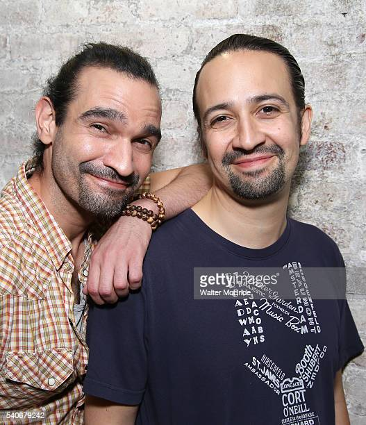 Javier Muñoz and Lin-Manuel Miranda who both play the title character in the Tony Award winning musical 'Hamilton' at the Richard Rodgers Theater on...