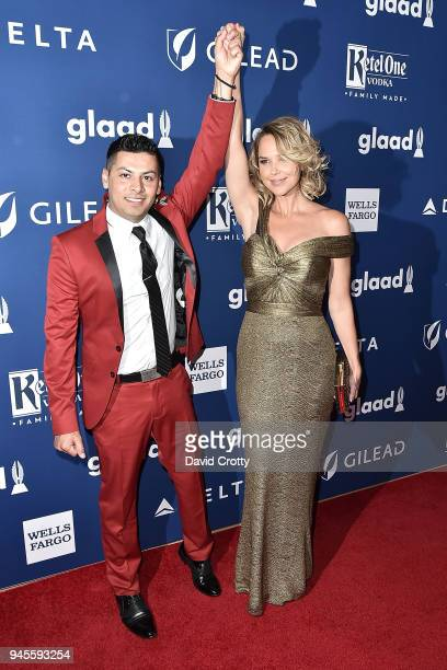 Javier Nava and Arielle Kebbel attend the 29th Annual GLAAD Media Awards Arrivals at The Beverly Hilton Hotel on April 12 2018 in Beverly Hills...