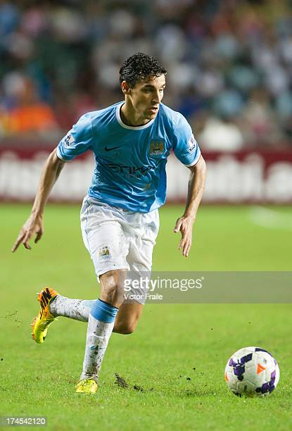 Javier Navas of Manchester City runs with the ball during the Barclays Asia Trophy Final match between Manchester City and Sunderland at Hong Kong...