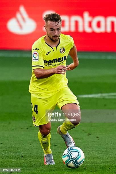 Javier Ontiveros of Villarreal CF with the ball during the Liga match between Villarreal CF and Real Sociedad at Estadio de la Ceramica on July 13,...