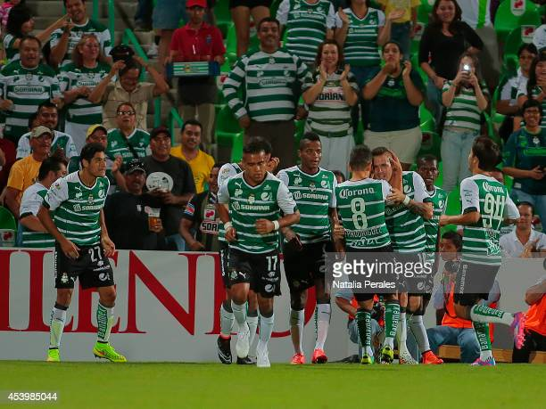 Javier Orozco celebrates after scoring the second goal of his team during a match between Santos Laguna and Toluca as part of 6th round Apertura 2014...