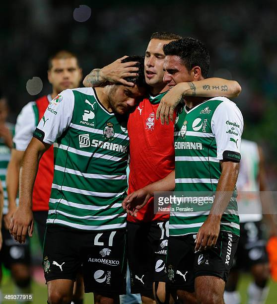 Javier Orozco Mauro Cejas and Alonso Escoboza of Santos regret after teir team is knocked out by Pachuca during the Semifinal second leg match...