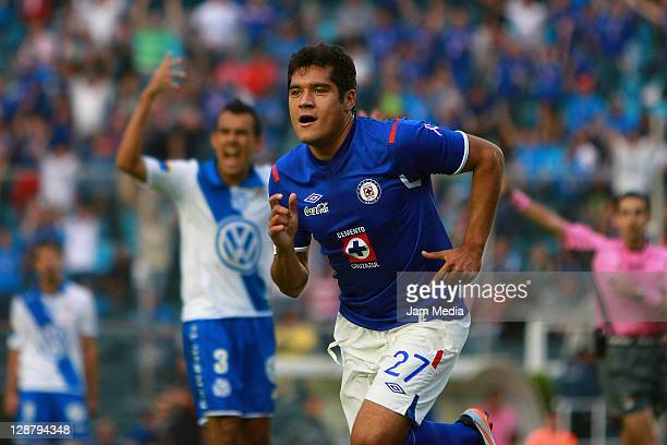 Javier Orozco of Cruz Azul celebrates a scored goal during a match against Puebla as part of the Apertura 2011 at Blue Stadium on October 8 2011 in...