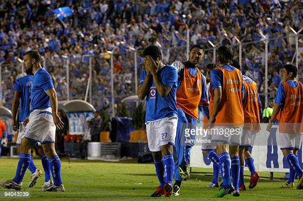 Javier Orozco of Cruz Azul reacts during their semifinals match as part of the 2009 Opening tournament in the Mexican Football League at the Azul...